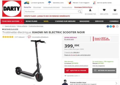 小米轮滑车在Darty销售