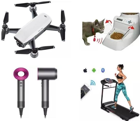 无人机、宠物智能喂食器、健身器材、太阳镜及吹风机